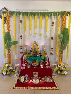 ethnic home decor Diwali Decorations At Home, Wedding Stage Decorations, Backdrop Decorations, Festival Decorations, Flower Decorations, Gauri Decoration, Mandir Decoration, Ganapati Decoration, Ganpati Decoration Design