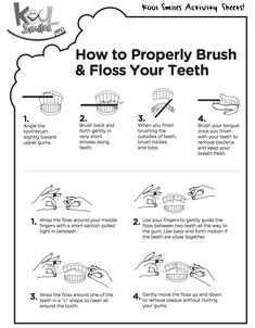 Learn how to properly floss and brush your teeth during Children's Dental Health Month with this fun activity sheet! health activities health care health ideas health tips healthy meals Dental Kids, Dental Braces, Dental Teeth, Dental Care, Children's Dental, Dental Offices, Teeth Braces, Dental Surgery, Dental Floss