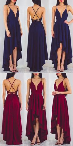 Evening dresses, cheap hi low party dresses, sexy deep v-neck prom party dresses, @tidetell