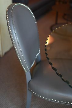 Grey chair | dining room table chair | dining room | stud accents | stud chair | home essential