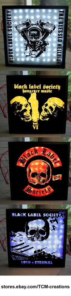 Black Label Society shadow boxes with LED lighting.  Pride & Glory, Ozzy Osbourne, Sonic Brew, No Rest For The Wicked, No More Tears, Ozzmosis, The Bessed Hellride, Shot To Hell, 1919 Eternal, Book Of Shadows, Stronger Than Death, Hangover Music Vol. 6, Mafia, Order Of The Black, Catacombs Of The Black Vatican.