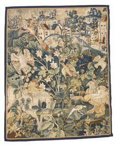 A Flemish 'Feuilles de Choux' tapestry fragment, probably Oudenarde circa 1600