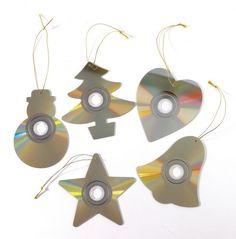 Enfeites de natal com CDs