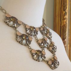 HP Peach & Topaz statement necklace Rich color combination of clear, peach and topaz stones linked in a web-chained bib necklace. Only worn twice; great condition! trades J. Crew Jewelry Necklaces