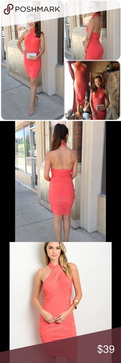 Coral Beauty This gorgeous dress features open back detail, and halter top closure. Comfortable jersey knit material. 94% Polyester, 6% Spandex (This closet does not trade or use PayPal ) Shop the Trends Dresses Midi