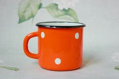 Red Polka Dot Cup / Cute Soviet Vintage by MonstersOverTheSea