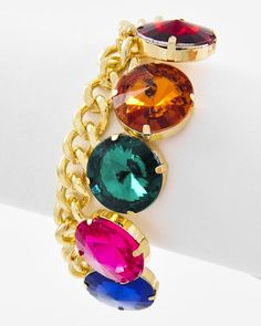 Gold Tone / Multi Color Acrylic / Lead Compliant / Meta Chain / Lobster-claw / Bracelet