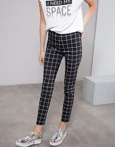 Stradivarius - Cigarette print trousers 89.9 RON