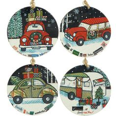 RAZ Automobile Flat Disk Christmas Ornament Set of 4  Assorted vintage automobile ornaments Set includes one of each style Vintage style camper, cars, station wagon Made of Metal Measures