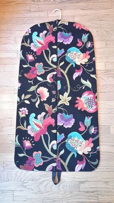 Garment Bag, Hanging Garment Bag, Black Floral by CarryItWell on Etsy Rebecca Brown, Etsy Cards, College Gifts, Garment Bags, Vera Bradley Backpack, Grosgrain Ribbon, Black Backgrounds, Cotton Fabric, Turquoise