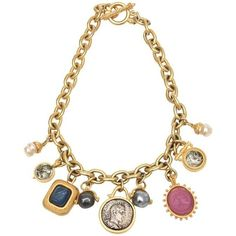 Pre-owned Roman Inspired Coin Dangle Necklace ($1,600) ❤ liked on Polyvore featuring jewelry, necklaces, beige, chain necklaces, antique jewellery, pendant necklace, dangle necklace, pendant jewelry and pre owned jewelry