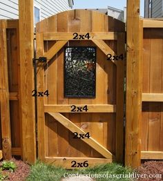 DIY Gate Building Instructions including how to add this beautiful iron 'window' Love this project! Not sure this would work for anything in my yard but is definitely a cool gate :) Diy Gate, Diy Fence, Backyard Fences, Backyard Projects, Outdoor Projects, Garden Projects, Backyard Landscaping, Fence Ideas, Gate Ideas