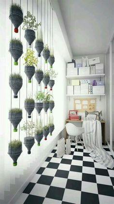 Soda bottle flower pots