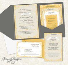 Custom Pocket Fold Wedding Invitations by Jeneze on Etsy.  Grey and yellow wedding invitations.