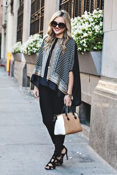 Black Jeans, Silk Blouse, Black Strappy Sandals