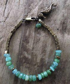 Opal Bracelet - Ethnic Brass Beads - Aqua Blue - Green Apple Opal - Vintage Brass Seahorse Charm - Charm Bracelet - Brass Bracelet. $42.00, via Etsy.