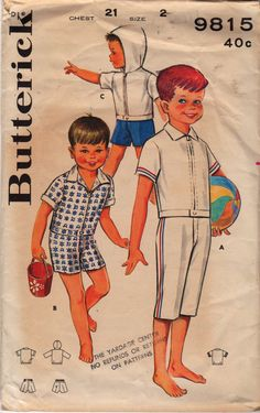 Butterick 9815 1960s Toddlers Sportswear Pattern Clam Diggers, Hoodies Shirt and Shorts boys vintage sewing pattern by mbchills