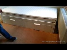 ▶ IKEA Brimnes Day / Trundle Bed Design - YouTube super smart design for guests - actually accommodates two side by side mattresses to sleep two