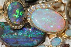 Beautiful high grade white and black Australian opals.