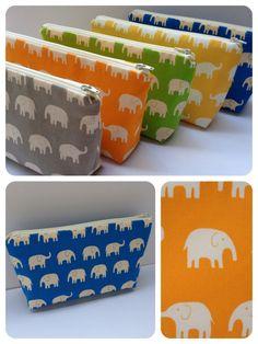 Fabric Zippered Pouch Clutch Bag  Elephants  Choose by BaffinBags, $15.00