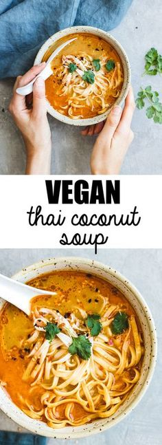 This northern-style vegan thai coconut soup recipe is a healthy and easy meal th. - snacky snacks - This northern-style vegan thai coconut soup recipe is a healthy and easy meal that is made with Tha - Coconut Soup Recipes, Thai Coconut Soup, Whole Food Recipes, Veggie Soup Recipes, Rice Noodle Recipes, Recipes Dinner, Fast Recipes, Recipe With Coconut, Vegitarian Soup Recipes