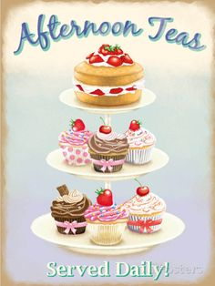 Have some tea and sweet desserts with this wonderful Afternoon Tea Metal Sign. Made of sturdy steel, this sign features a platter of cake and cupcakes that's sure to get you in the mood for tea. Cupcake Torte, Tea Tins, Tea Cakes, Kitchen Art, Kitchen Decor, Bakery Kitchen, Food Illustrations, Cake Illustration, Decoupage