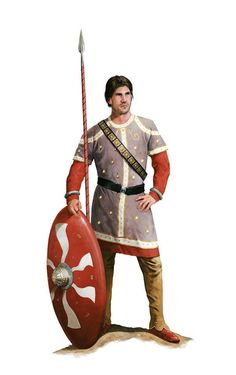Hypothetical appearance of a member of the Scholae Palatinae, a Roman Imperial guard unit, 4th-5th centuries AD. Artwork by Tom Croft.