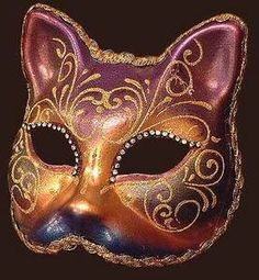 Venetian mask Gatto Arco Strass Blue Moon Mask