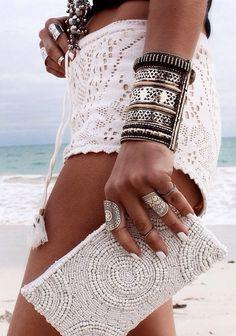 Lace crochet white shorts // beaded clutch // silver jewellery cuff // beach babe tan // boho chic fashion style