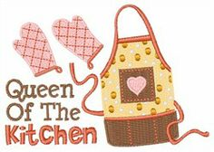 """""""Queen of the Kitchen"""" Hopscotch Embroidery Design: Medium 2.33 inches H x 3.26 inches W"""