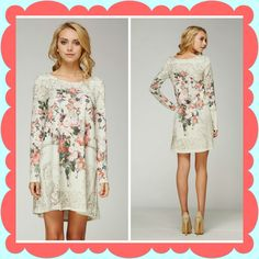 Floral print dress (can be worn as a long shirt)  Small- Large $39.99. Shop anytime at www.lakynsboetique.com