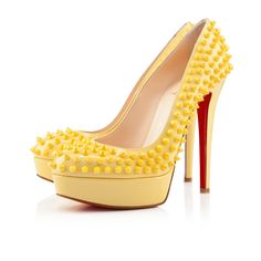Christian Louboutin Bianca Spikes 140mm Canari Patent Leather #jaune ~ Colette Le Mason @}-,-;---
