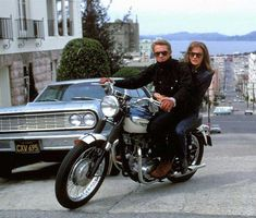 Steve McQueen & Jacqueline Bisset in their 1968 film, Bullitt. Steve Mcqueen Bullitt, Steve Mcqueen Triumph, Steve Mcqueen Style, Jacqueline Bisset, Steeve Mcqueen, Triumph Motorcycles, Triumph Scrambler, British Motorcycles, Triumph Bonneville