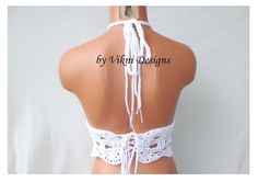 Festival High Neck Top High Neck Crochet Top White Crop by vikni