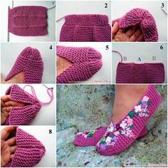 Wonderful DIY Pretty  Knitted Lilac Slippers