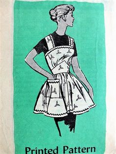 1950s CUTE Full Bib Apron Pattern ANNE ADAMS 4911 Pretty Midriff Style Kitchen or Hostess Aprons Size Large Vintage Sewing Pattern