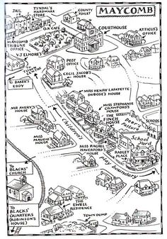 "Maycomb County map in ""To Kill a Mockingbird"" -educational websites http www enotes com to kill a mockingbird Teaching Literature, Teaching Reading, Teaching Resources, Teaching Posters, Teaching Biology, 9th Grade English, High School English, Ap English, Gcse English"