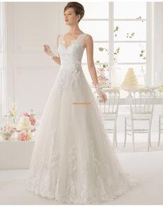 Vlečka na zem Krajkový vzhled Elegantní & moderní Svatební šaty 2015