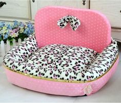 New Princess Leopard Print Pet Dog Cat Sofa Bed House Kennel Pink/Blue Size M