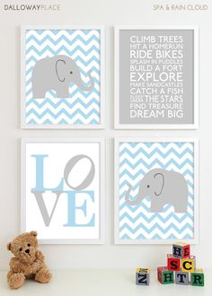 Baby Boy Nursery Art Chevron Elephant Nursery Prints, Kids Wall Art Baby Boys Room, Baby Nursery Decor Playroom Rules Quote Art - Four 8x10. $50.00, via Etsy.