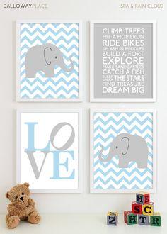 Baby Boy Nursery Art Chevron Elephant Nursery Prints, Kids Wall Art Baby Boys Room, Baby Nursery Decor Playroom Rules Quote Art - Four 8x10. $50.00, via Etsy.