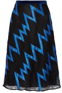 CHRISTOPHER KANE Velvet-trimmed satin-appliquéd lace skirt