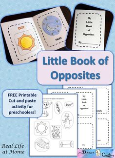 """Print the cute and free """"my little book of opposites"""" with images to color, cut, and glue! This is a perfect companion to Opposites by Sandra Boynton."""