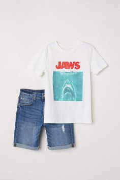 H M T-shirt and Denim Shorts - White Toddler Boy Fashion b535c00b7