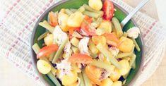 Roerbak van makreel, krieltjes en sperziebonen