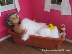 How to make a doll sized bathtub for American Girl dolls & the like from dollar store materials
