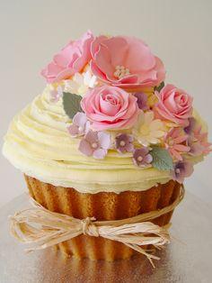 Giant Vintage Flowers Cupcake, birthday, wedding cutting cake