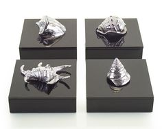 """Limited Production Design: Sq: 10 """" Silver Shell Black Lacquer Boxes"""