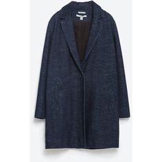 Zara Denim Coat (530 RON) ❤ liked on Polyvore featuring outerwear, coats, indigo, zara coat, denim coat and blue coat