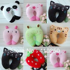New Fashion Cute Cartoon Tiger Cat Pig Bear Pattern U shape Neck Pillow Travel car home Pillow Wholesale retail-inStuffed & Plush Animals fr...